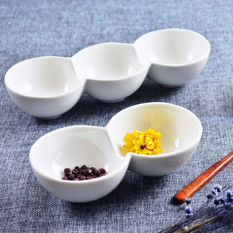 Seasoning bowl bowl bowl of white ceramic creative Western-style food sauce bowl bowl two bowl conjoined division three bowl Hot<br><br>Aliexpress