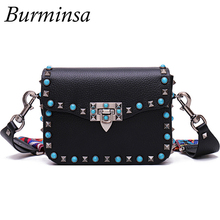 Hot Rivet Small Flap Shoulder Crossbody Bags Designer Brand Ladies Clutch Hand Bags High Quality PU Leather Women Messenger Bags(China (Mainland))