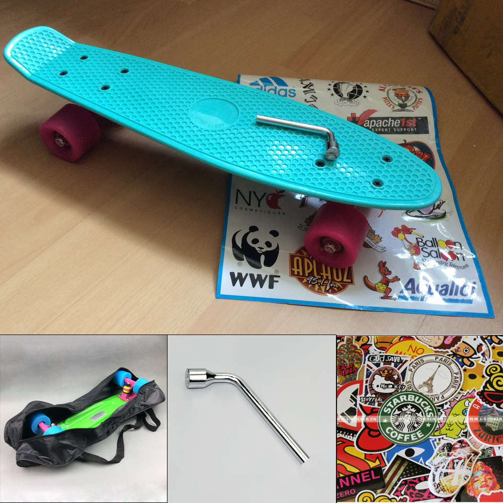 peny board kateboard with bag cool color truck 4 wheel longboard mini cruiser long board banana pnny style skate board patins(China (Mainland))