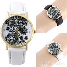 Women's Fashion Round Lace Printed Faux Leather Quartz Analog Dress Wrist Watch 2KU6