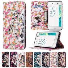 Flowers Bling Crystal Diamond Credit Card Holder Wallet Stand Flip Leather TPU Case Sony Xperia E5 XA Ultra Z5 Z4 Z3 Compact - Happy Gloria store