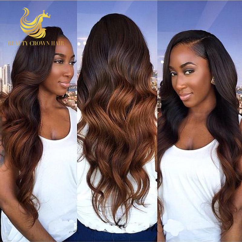 150Density Ombre Full Lace Wig Virgin Hair Two Tone Lace Front Ombre Lace Wigs Human Hair Body Wave Ombre Wig With Baby Hair(China (Mainland))