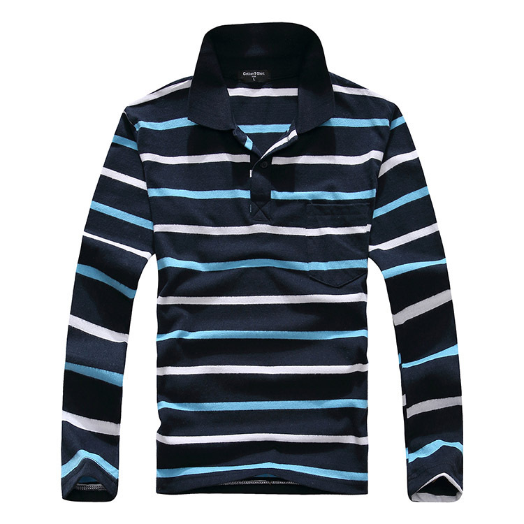 Striped t shirt long sleeve cotton thick softwear stretch for Thick long sleeve shirts