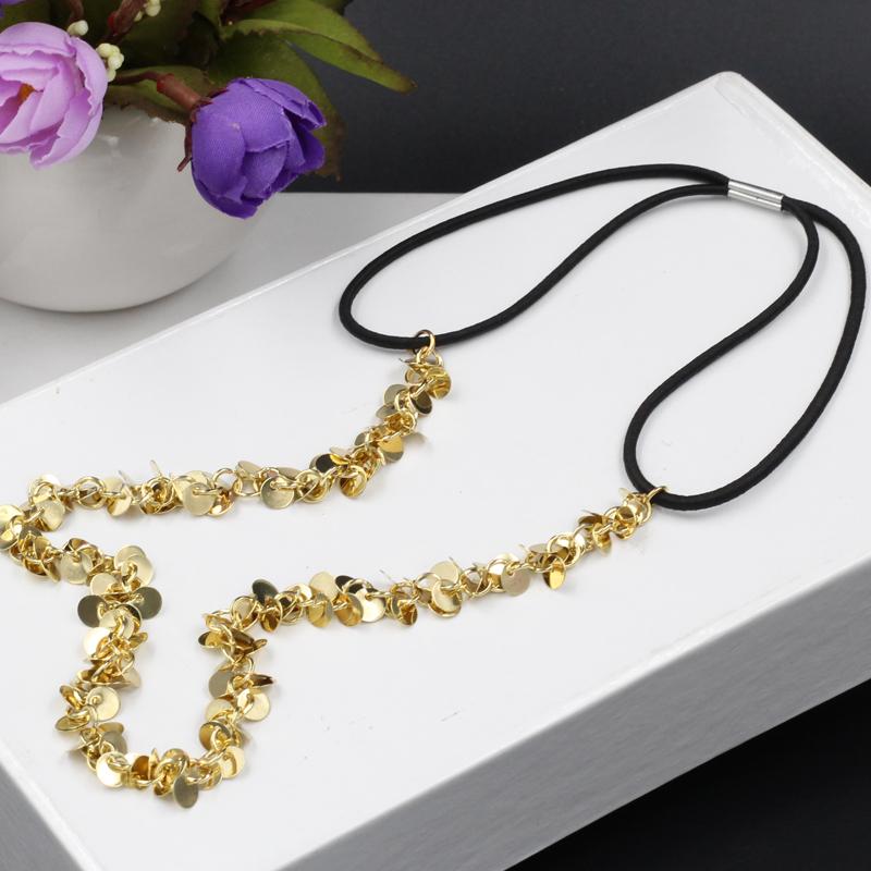 women fashion gold color plated sequins elastic headband punk head Chain hair accessories(China (Mainland))