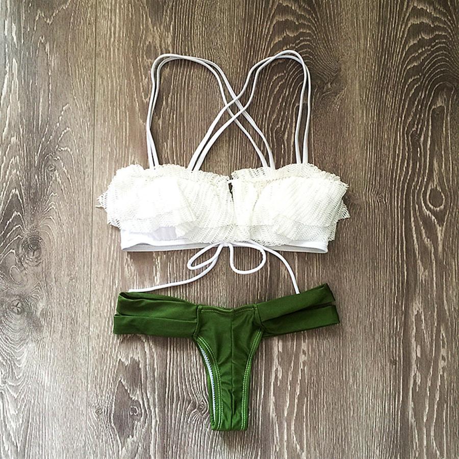 Women Lace Printed Retro Bikini Swimwear Hot Brazilian Bandage Halter Vintage Swimwear Beachwear Bathing Suits Swimsuits Biquini(China (Mainland))