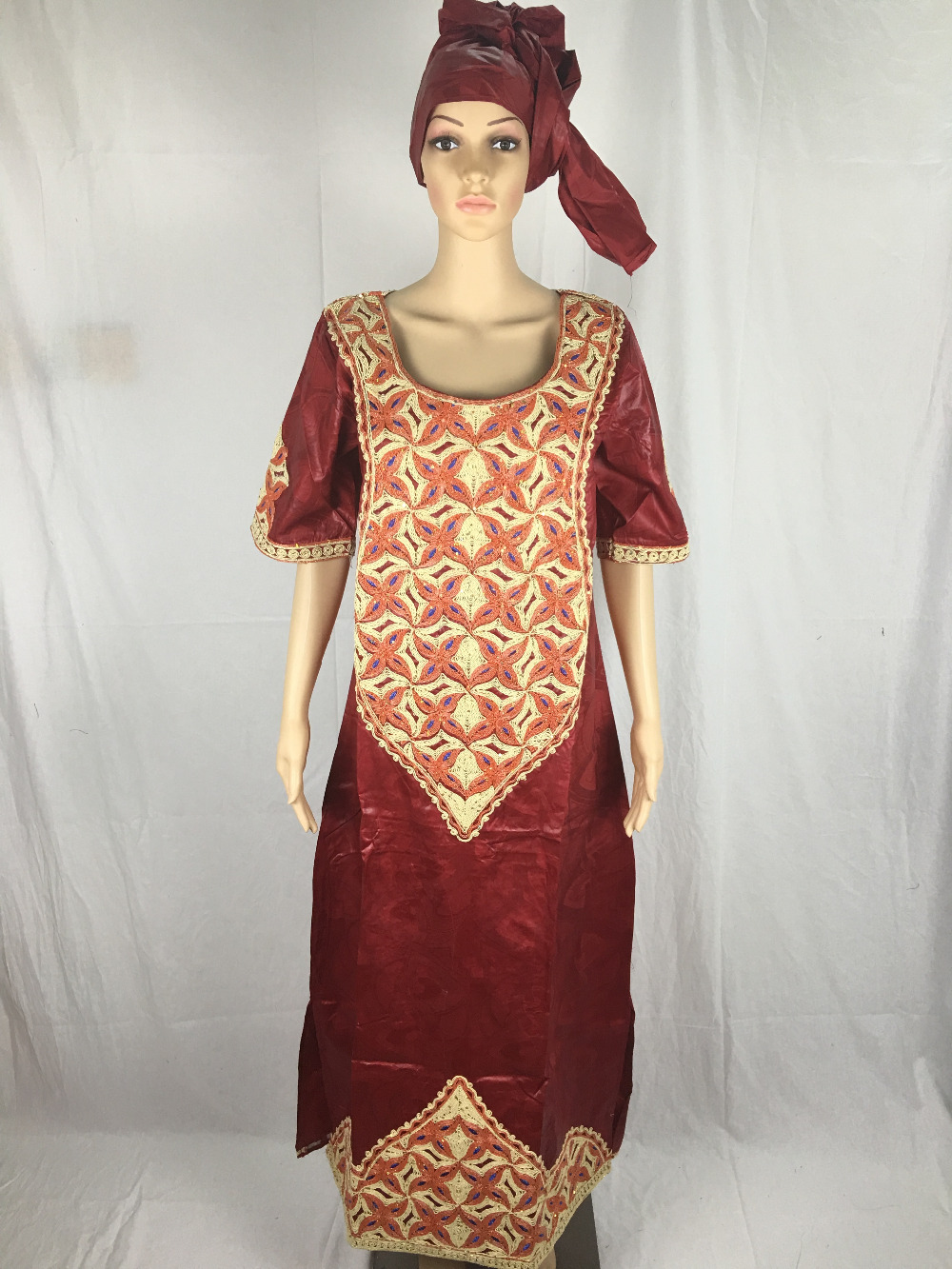 Free shipping 2016 new fashion design african bazin riche material embroidery dress 1.6 long hot(China (Mainland))