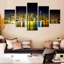 free shipping Cheap wall art canvas paintings ,NO frame 5 pcs mordern city night view Canvas Print for Living Room Decoration