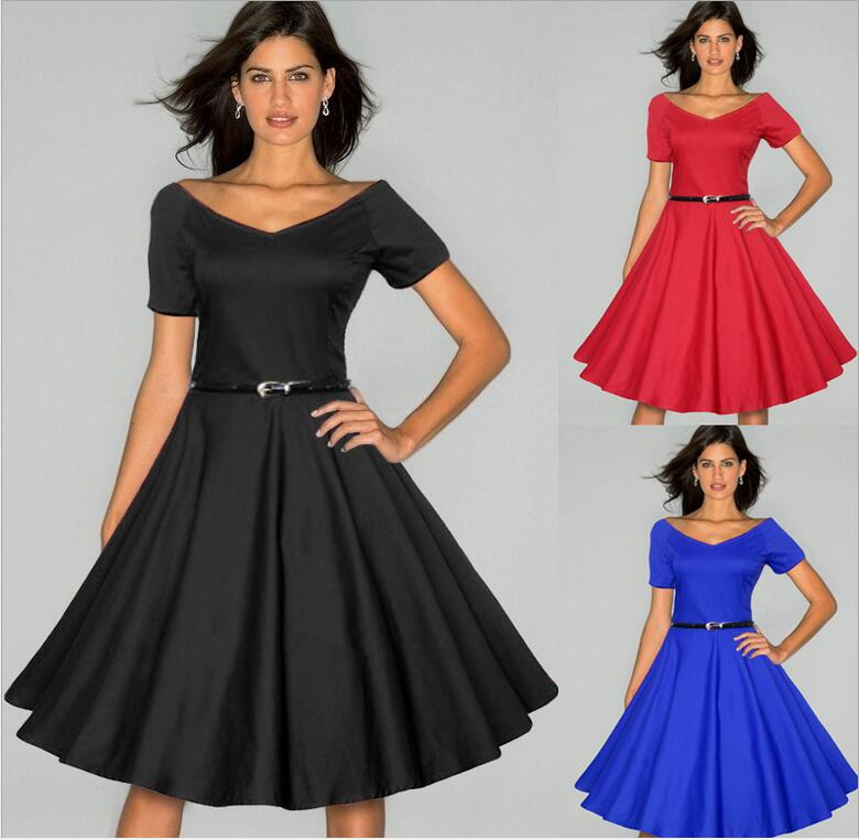 Women Belted Elegant Audrey Hepburn 50s Vintage Pinup Retro V Neck Front Back Rockabilly Party Skater Flare Swing Fitted Dress - rockabilly dress costume clothes mfg store