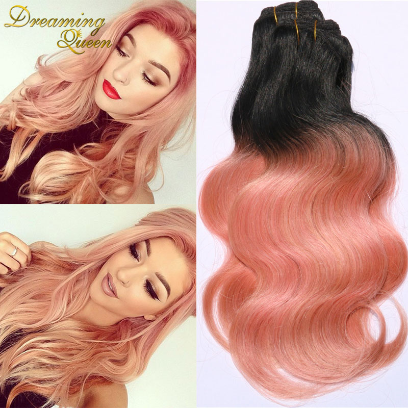 Trendiest Color Ombre Brazilian Virgin Hair 3 Pcs Human Hair Ombre Extensions Rose Gold Hair Weave Two Tone Brazilian Body Wave(China (Mainland))
