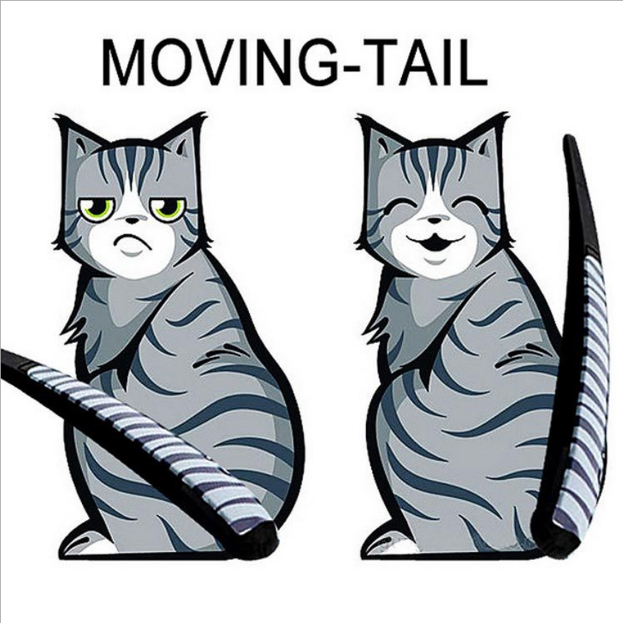 3 styles 2016 Hot Sales Cartoon Funny Cat Moving Tail Stickers Reflective Car Window Wiper Decals