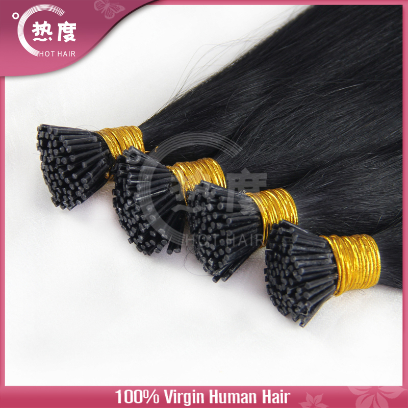 "0.5g/strand Pre Bonded I Tip Keratin Hair Extensions 100 Brazilian Virgin Hair 8"" 10""12""14""16"" Silky Straight Hair On Sale(China (Mainland))"