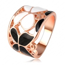 LZESHINE Brand Black And White Enamel Butterfly Ring Rose Gold Plated Genuine SWA Element Austrian Crystal Wide Ring Ri-HQ1077-A