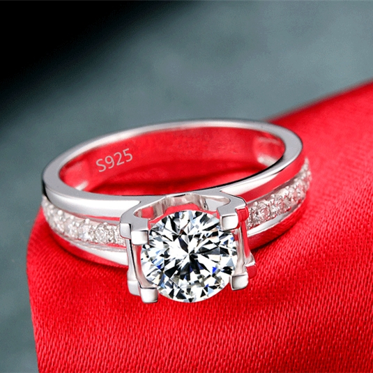 Brand design Hollow Wedding Ring engagement cz diamond white gold fashion plated jewelry for women AAA CZ diamond VSR066(China (Mainland))
