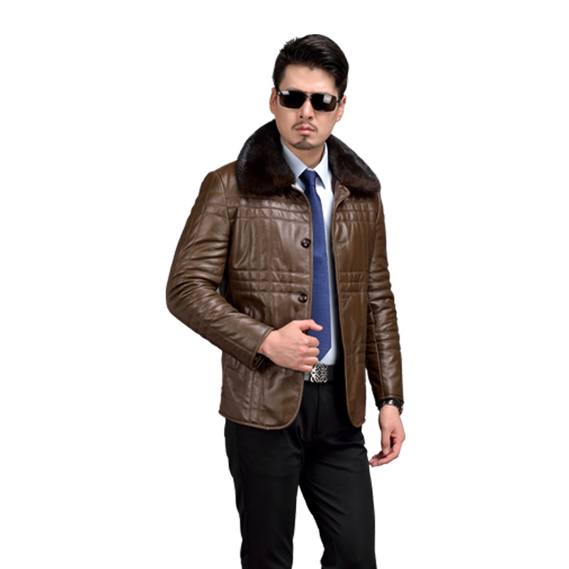 Hot 100% Genuine Leather Sheepskin Mens Coat Mink Collar Mink Collar Waterproof Windproof Mens Leather Jackets And Coats 58526(China (Mainland))