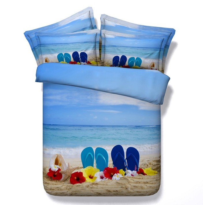 Beach comforter sets 3D bedding queen duvet cover blue floral starfish sea bedspread bed sheet linen quilts super king size twin(China (Mainland))