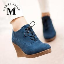 2015 New Wedges Boots Fashion Flock Women's High-heeled Platform Ankle Boots Lace Up High Heels Spring Autumn Shoes For Women(China (Mainland))