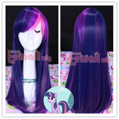 55 cm Long Straight Mixed Purple/Pink Synthetic Cosplay Hair My Little Pony Tail Twilight Sparkle + A Free Wig Cap(China (Mainland))