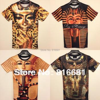 New 2014 T-shirts Two-side New women/men Egyptian Pharaoh Funny 3D short T shirt  mummy king 3d top novelty tee XXL Freeshipping