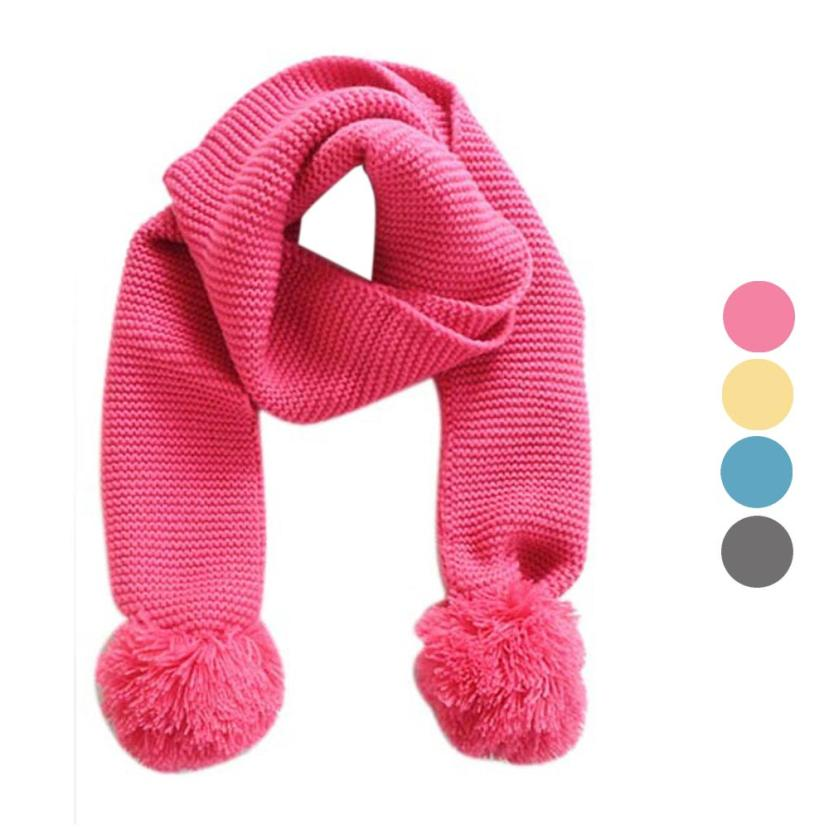 LandFox Fashion and high quality Baby Kids Winter Solid Color Knitting Wool Double Ball Warm Knitting Wool Scarf(China (Mainland))
