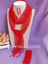 Free ship!!! fashion Luxury bridesmaid bridal Red coral jewelry set Long Scarves design coral bead necklace bracelet earring set(China (Mainland))