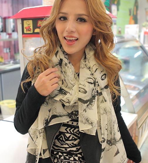 Бесплатная доставка 2016 весной и летом новый корейский шифон шарфы оптовая продажа звезды сша мэрилин монро печатных шарф женщин шали