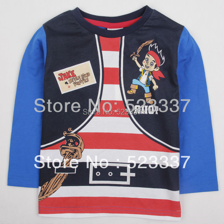 A4360# 2013 new fashion nova kids baby boys children clothing printed cartoon autumn / spring long sleeve T-shirt