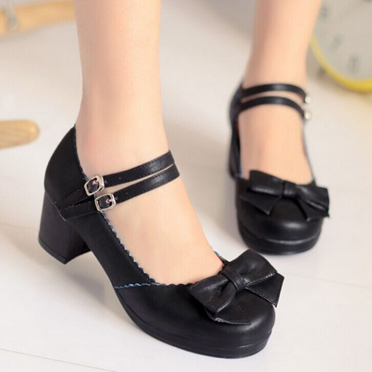 Sweetheart Princess new spring fashion Round toe womens shoes ladies shoes bow Chunky heel<br><br>Aliexpress