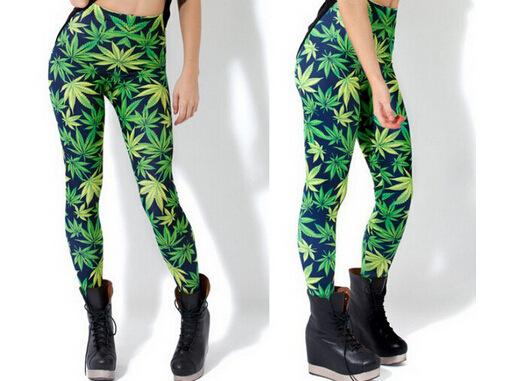 2015 New Arrival Women Fashion Designer Adventure Time Cartoon Pants Print Weed marijuana  Leggings Plus Size