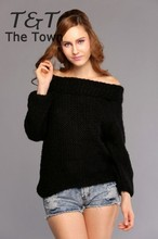 New Hot 2014 Autumn And Winter Sweater Thickening Off Shoulder Knitted Pullover Sweater Female Sweater Women B2# 41(China (Mainland))