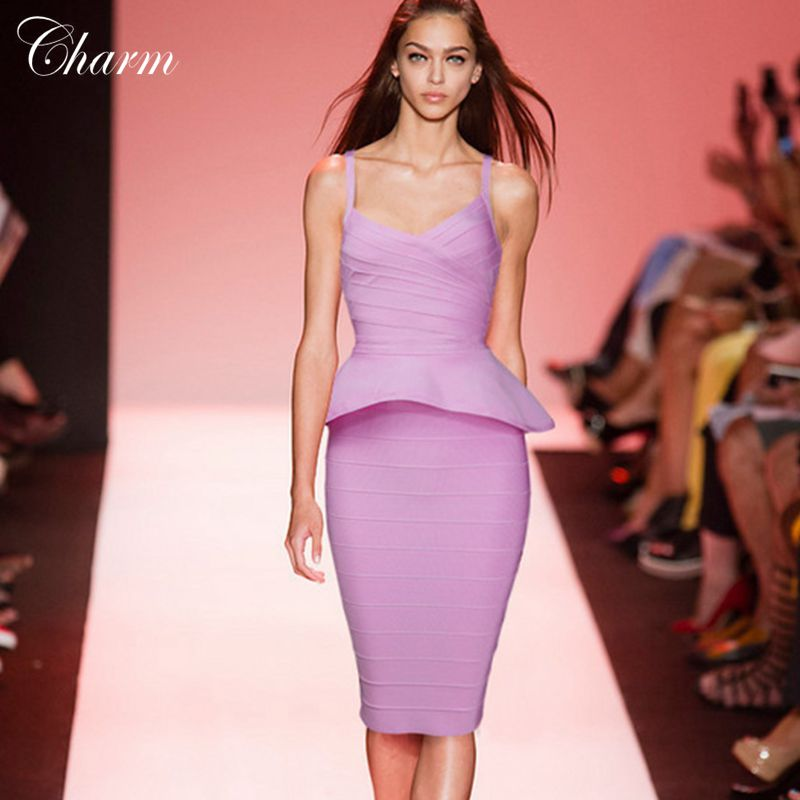 2016 sexy deep summer runway dress ruffles vestido celebrity women dresses knee length two pcs bandage DRESSES Package hip - Brand new store