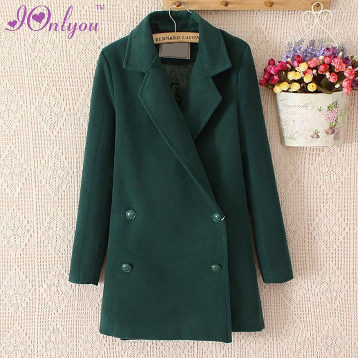 New Fashion Women's Outwear Winter Wool Blend Long Solid Coat Jacket Overcoat(China (Mainland))