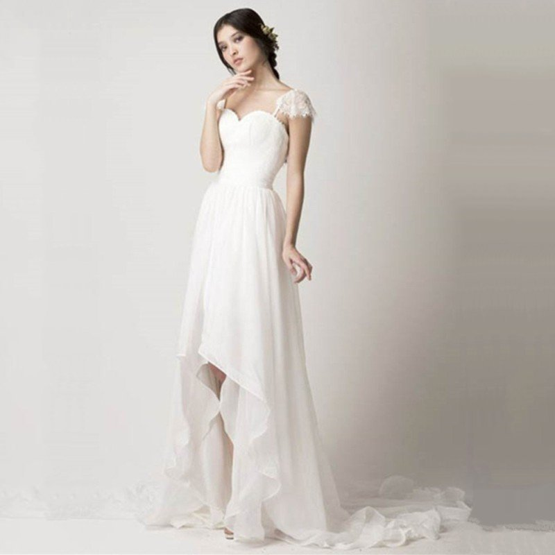 High Low Chiffon Summer Style Wedding Dress Front Short And Long Back Removab