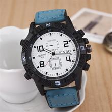Hombres moda casual sport reloj 2015 nuevo reloj de cuero exterior deportes de cuarzo relojes envío gratis reloj