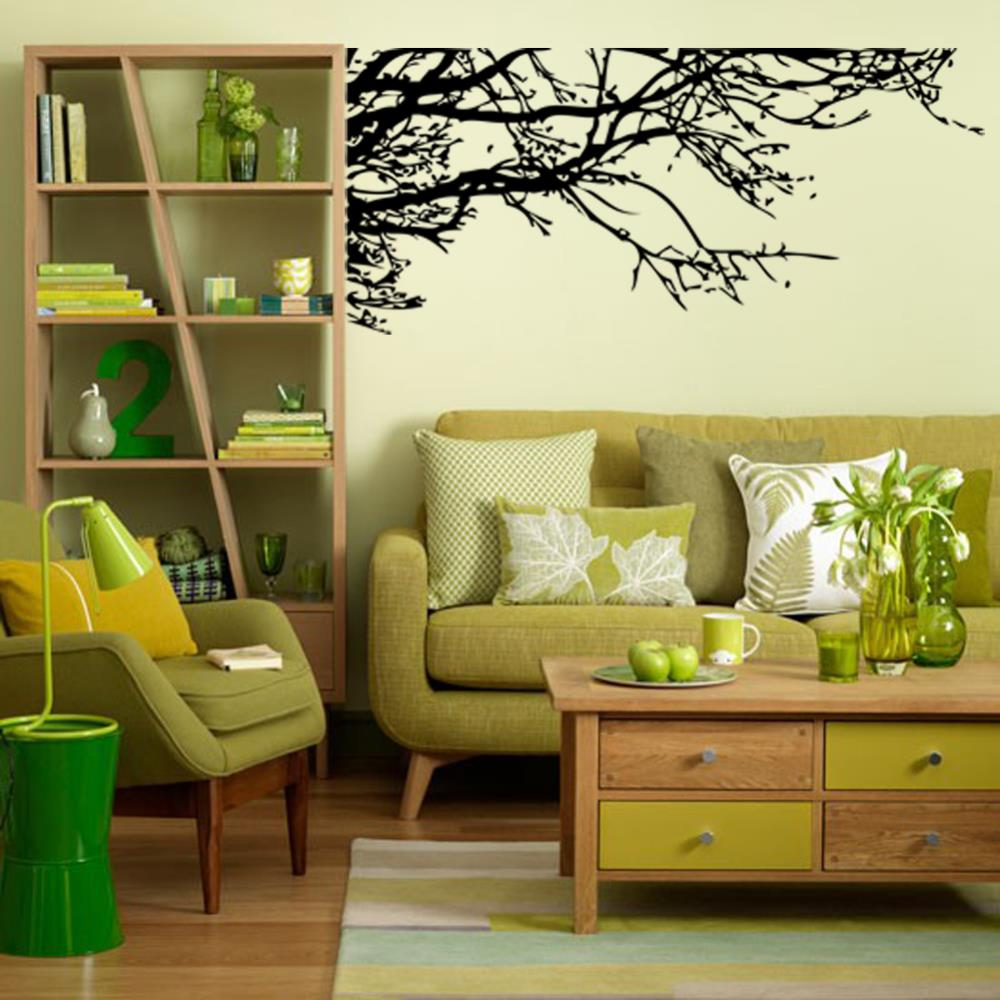 Big wall sticker black tree branch living removable vinyl for Black tree mural