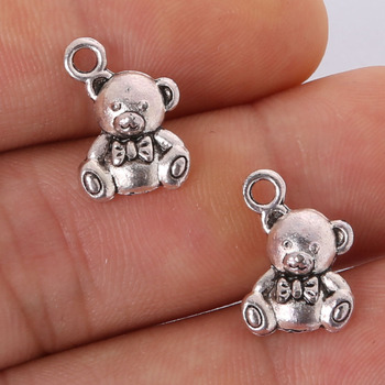 Fashion 7pcs 15x10mm Antique silver plating Bear Charms Pendant jewelry findings for DIY