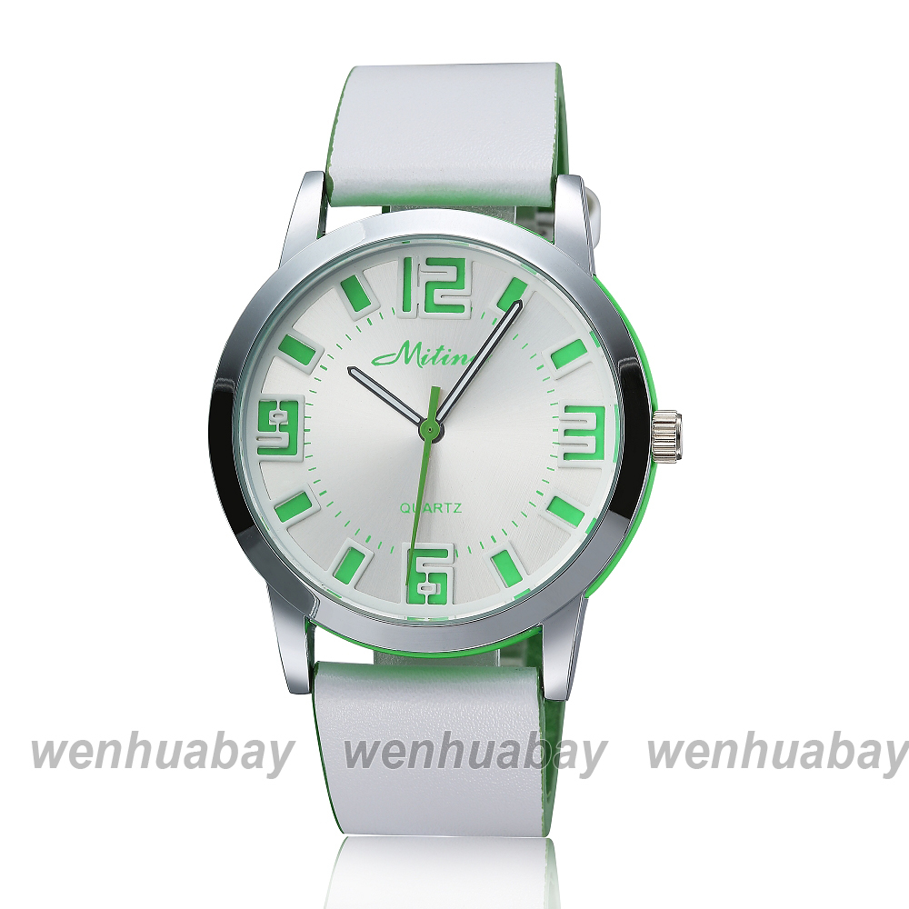 2015 New Arrival MITINA Brand White Leather Band Green Number Women Lady Men Round Dial Wrist