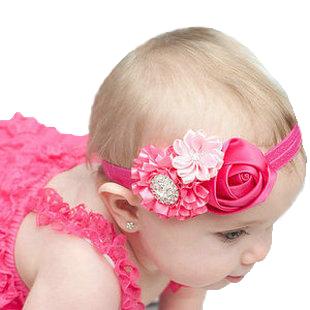 new 2015 fashion rose flower elastic hair bands infant