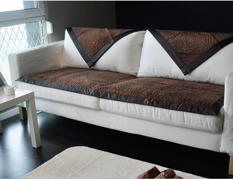 fashion brown fabric couch sofa cover set blanket