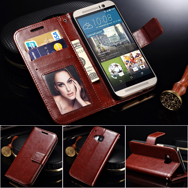 Luxury PU Leather Wallet Case For HTC One M9 Flip with Stand Design and Card Slot Hot Sale Phone Bag Mobile Accessories(China (Mainland))