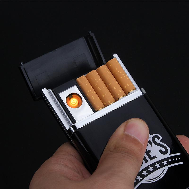 Design cigarette box with lighter smoking 8pcs cigarette case Creative USB Charging Cigarette Lighter(China (Mainland))
