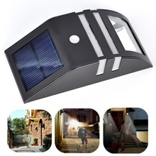 New High Quality Wall Mounted Solar Power Motion Sensor White LED Light Garden Wall PIR Stainless Lamp Eco-Friendly SGG#(China (Mainland))