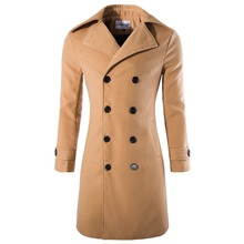2015 Autumn Winter Long Sleeve New Men's Slim Stylish Trench Coat Winter Woolen Double Breasted Warm Coat MCCJ038(China (Mainland))