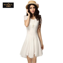 2016 New Fashion Round Sexy Lace Pleated Chiffon Casual Dress Summer Cute Sweet Solid Color Women Dresses All Much High End(China (Mainland))