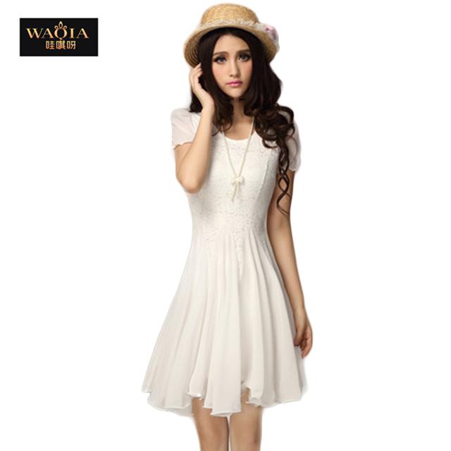 2016 новинка круглый сексуальная кружева гофрированный шифон свободного покроя платье лето милый сладкий сплошной цвет женщины платья все гораздо высокого класса