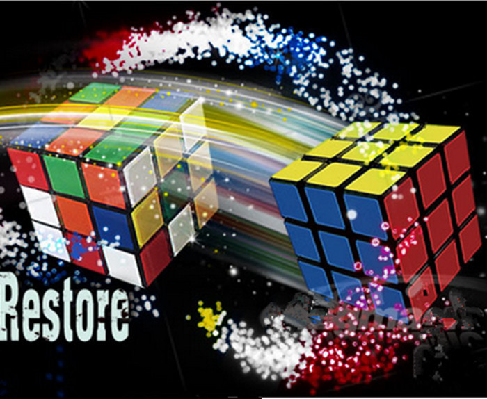 Flash Cube Restore FREE SHIPPING- Close Up Penetration Magic Tricks magia magie toys retail and wholesale(China (Mainland))