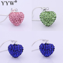 Buy 2017 Women Jewelry Rhinestone Fashion Heart Pendant Necklace Blue Pink Silver Plated Crystal Heart Shamballa Necklace Pendant for $1.08 in AliExpress store