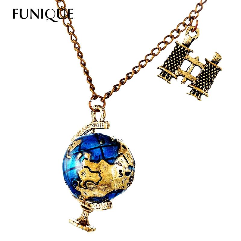 FUNIQUE Fashion Women's Globe Telescope Necklaces & Pendant Ball Shape Necklace For Women Vintage Long Necklace(China (Mainland))