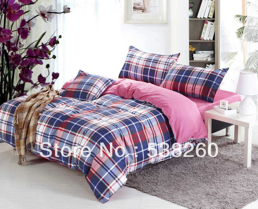Free Ship High Quality Cotton Bedding Satin Comforter Set Blue Plaid Tiwn Queen King Size
