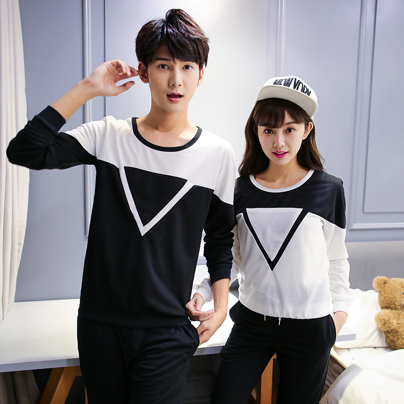 triangle cotton korean couple shirts with long sleeves