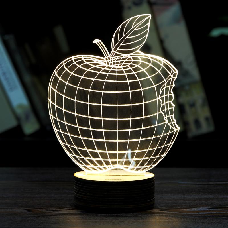 MOZA Home Decor 1Piece 3D APPLE NIGHT LAMP Acrylic Wood Mood Lamp Bulbing Light For Bedroom(China (Mainland))